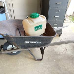 LOT # 140 - True Temper Wheel Barrel, Backpack Sprayer