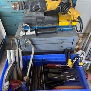 LOT # 151 - Dewalt Hammer Drill, Vintage Metal Parts Storage, Assorment of Hand Tools, Drill Bits, Metal Shears