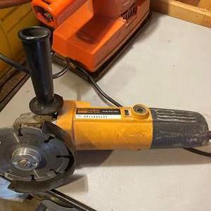 LOT # 154 - Grinder with Diamond Cutting Wheel, Orbital Saw, Black& Decker Belt Sander, Bin full of Grinder Chucks and Tools