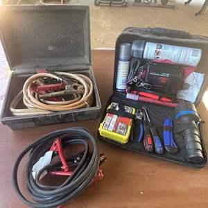 Lot # 172 - Roadside Emergency kit w/jumper cables, flares, tire inflatable compressor, window breaker, auto kit, flashlight)