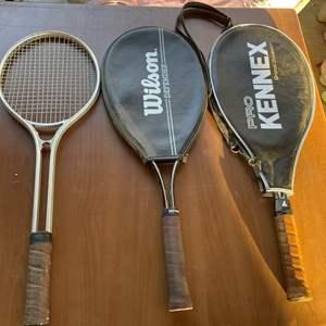 Lot # 174 - Tennis Rackets (Genuine Leather & Cowhide Handles)
