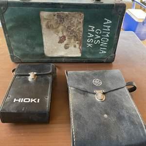 Lot # 179 - Vintage GE Voltmeter In Leather Case, Vintage HIOKI Voltmeter In Leather Case, Vintage Storage Box