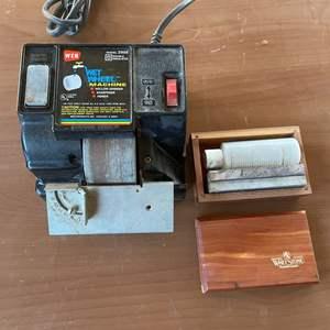Lot # 180 - Vintage Electric Wet Wheel Sharpener, Honer and Grinder, Vintage Wet Stone Knife Sharpener