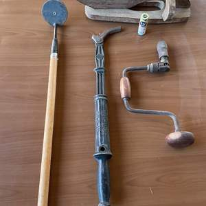 Lot # 182 - Antique Crescent Nail Puller, Antique Hand Drill, Vintage Insect Repellent, And Magnet