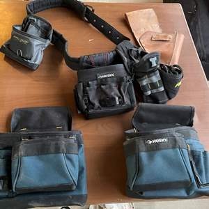 Lot # 189 - Husky Tool Belt & Accesories/ Atchison Leather Holster/ Reflective Vests/ Lunchbags