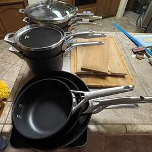 Lot # 193 - Calphalon Cookware Set/ Wood Cutting Boards