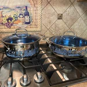 Lot # 194 - Cuisine Stainless Blue Willow Cookware
