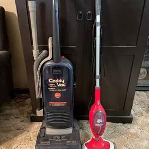Lot # 198 - Hoover Caddy Vacuum/ Dirt Devil Versa Steam Mop & Handheld Steamer