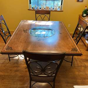 Lot # 1 - Custom Made Dining Room Table With 4 Chairs