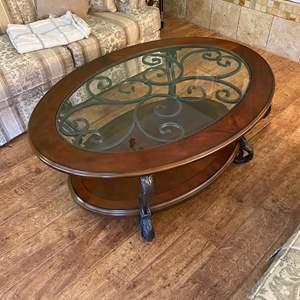 Lot # 7 - Oval Wood & Metal Coffee Table