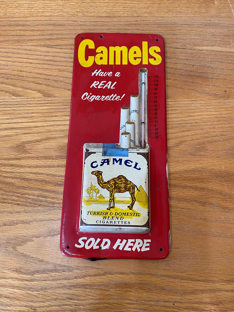 Lot # 9 - Vintage Camel Retail Sign/Thermometer  (main image)