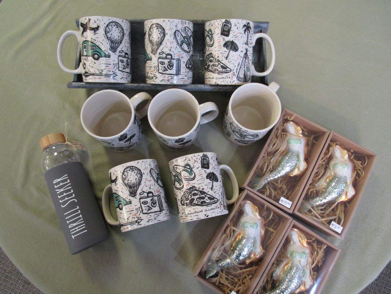 Lot # 93 - NEW Glass Mermaid Ornaments & Mugs (main image)