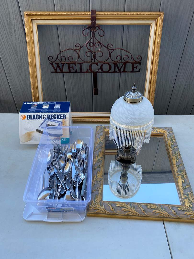Lot # 65 - Home Goods, Flatware, Mirror, Lamp, etc. (main image)