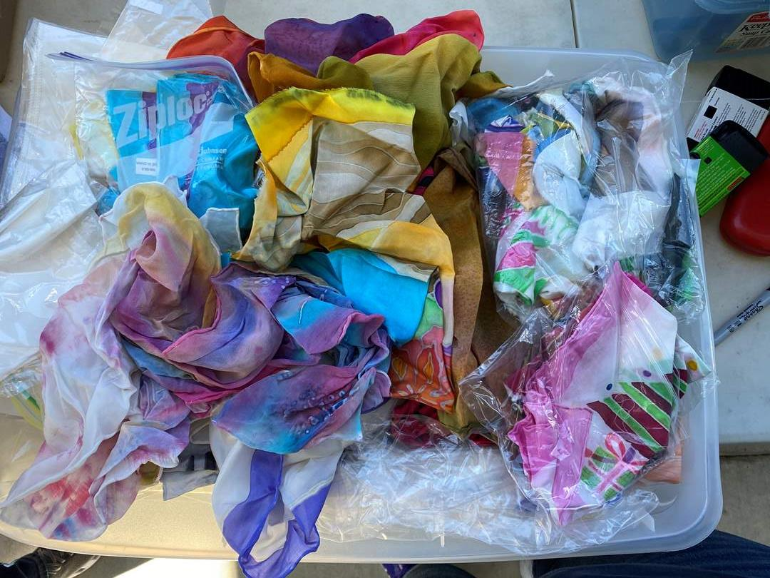 Lot # 15 - Box of Hand Dyed Silk Scarfs & New Blank Scarfs Ready For Dye  (main image)