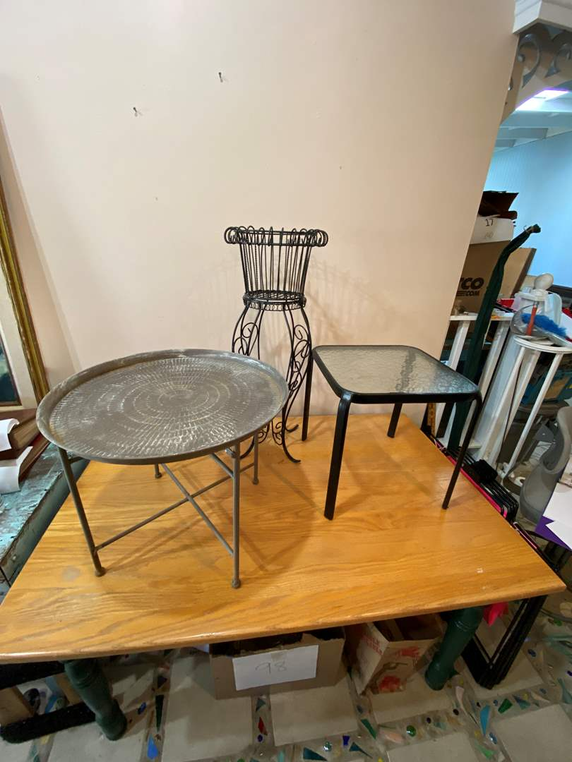 Lot # 1 - Two Small Tables & Plant Stand (main image)