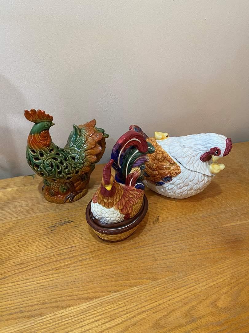 Lot # 3 - Large Ceramic Chickens (main image)