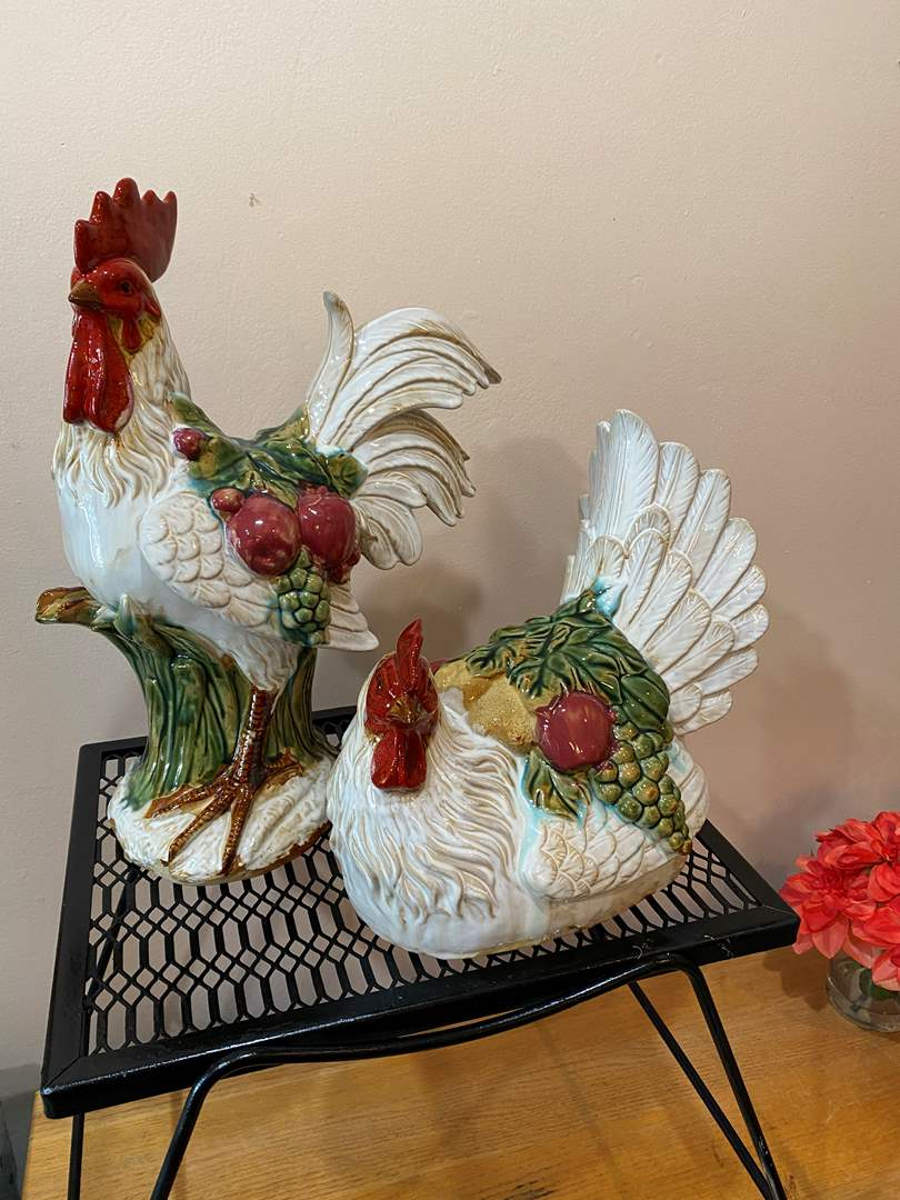 Lot # 11 - Large Ceramic Rooster and Chicken (main image)