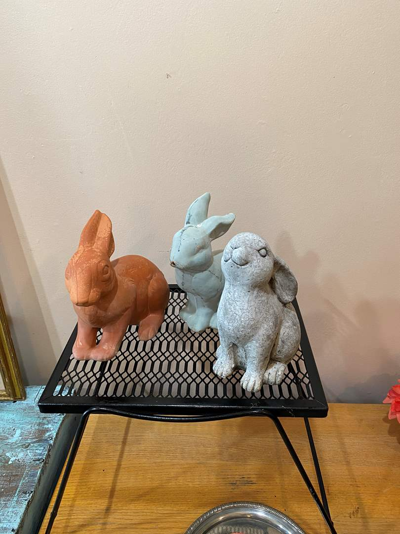 Lot # 13 - Terra Cotta and Concrete Bunnies (Table not included) (main image)