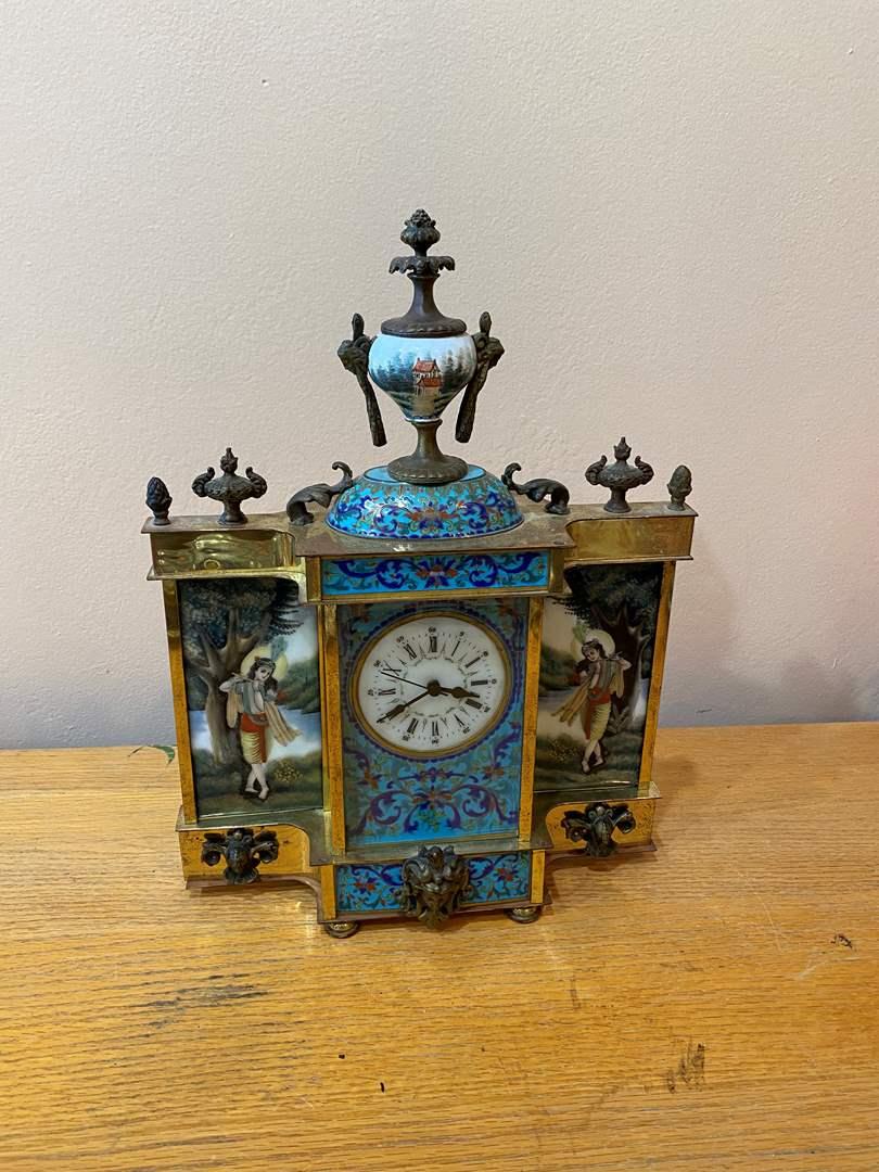 Lot # 15 - Porcelain, Brass and Cloisonné Mantle Clock (main image)