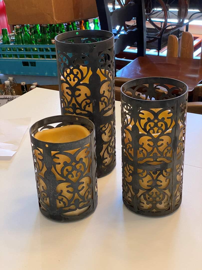 Lot # 21 - Set of Metal Framed Candles (main image)