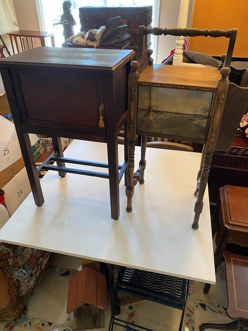 Lot # 34 - Two Vintage Wood Tables (main image)