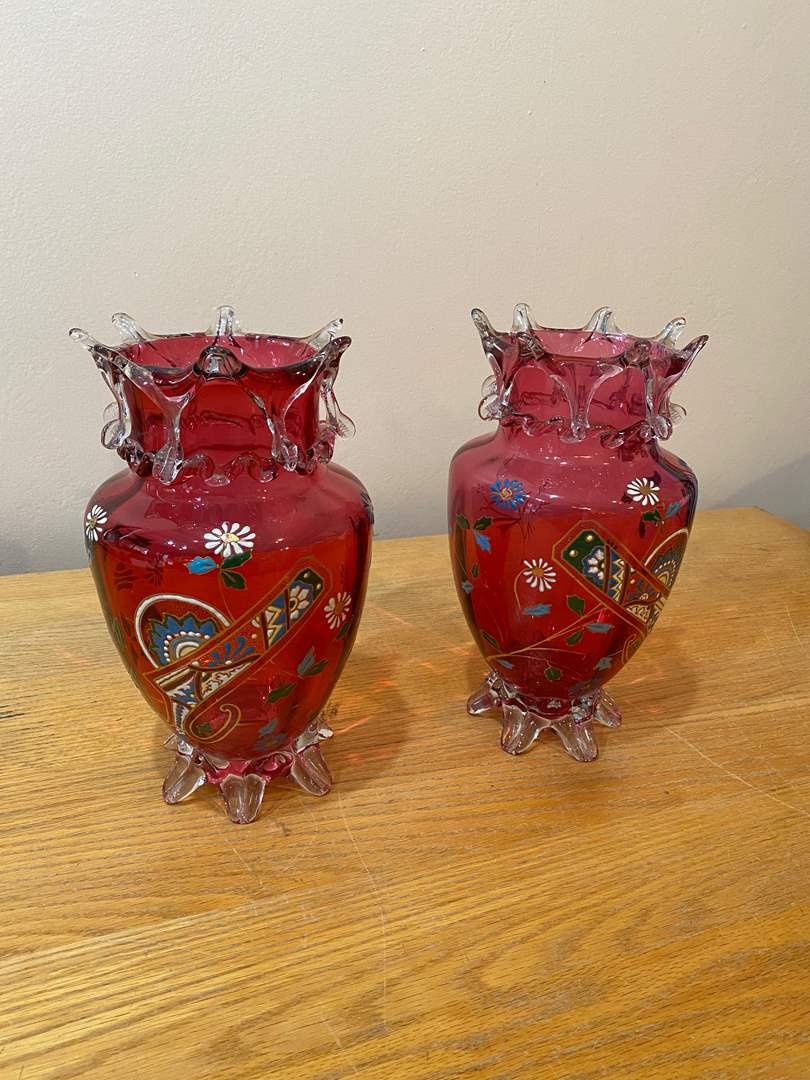Lot # 161 - Moser Enameled Cranberry Glass Footed Vases (main image)