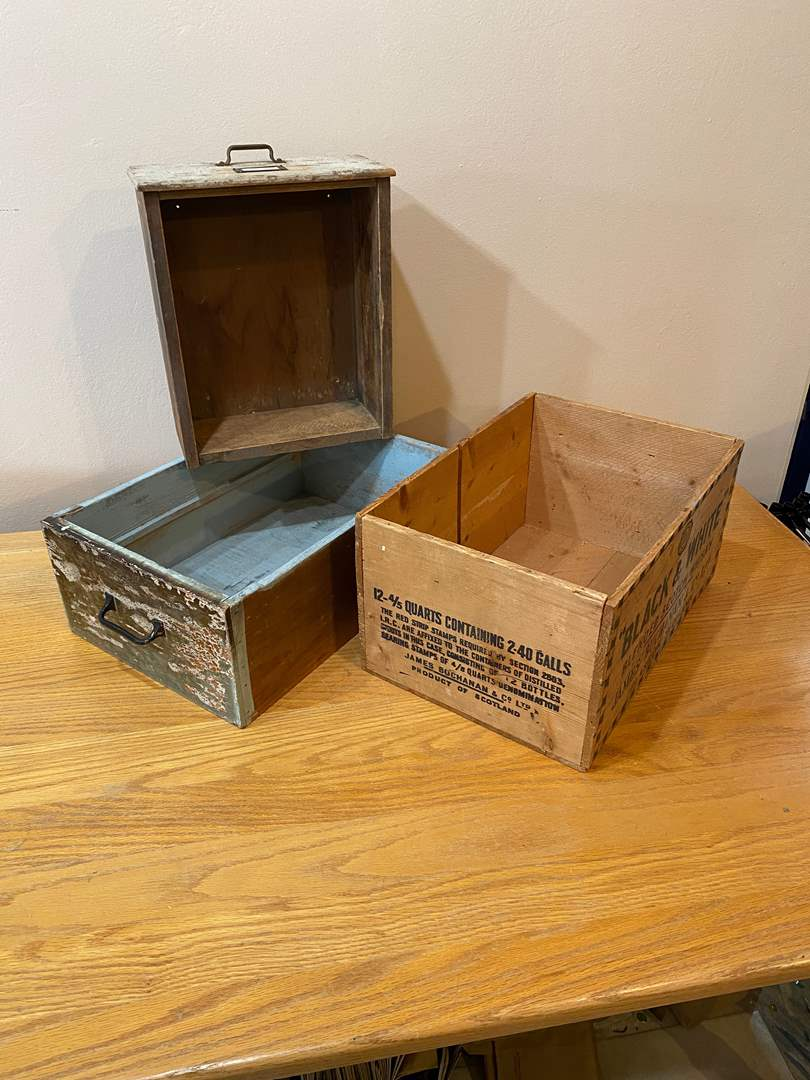 Lot # 165 - Vintage Drawers and Crate (main image)