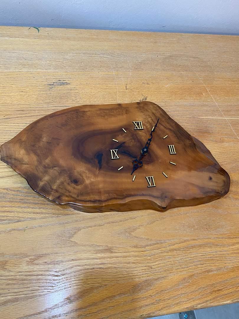 Lot # 169 - MidCentury Wood Slab Clock (main image)
