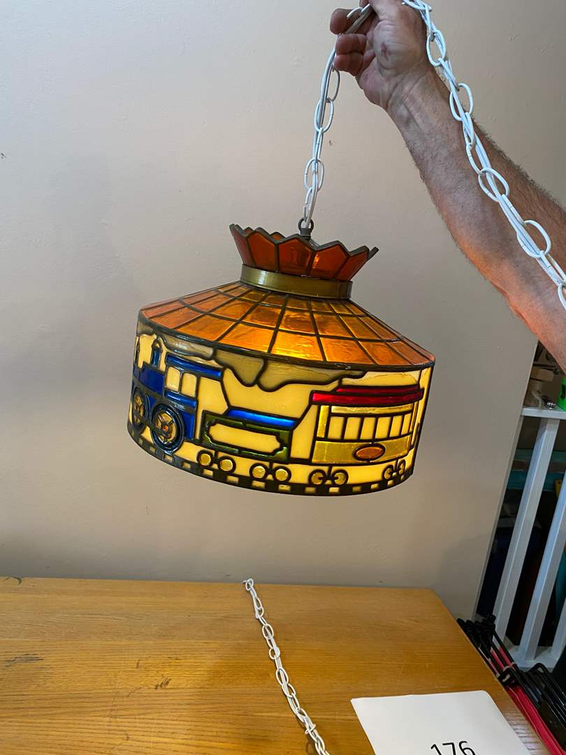 Lot # 176 - Stained Glass Hanging Lamp with Train Design  - Scouts Pack 214 Fund Raiser (main image)