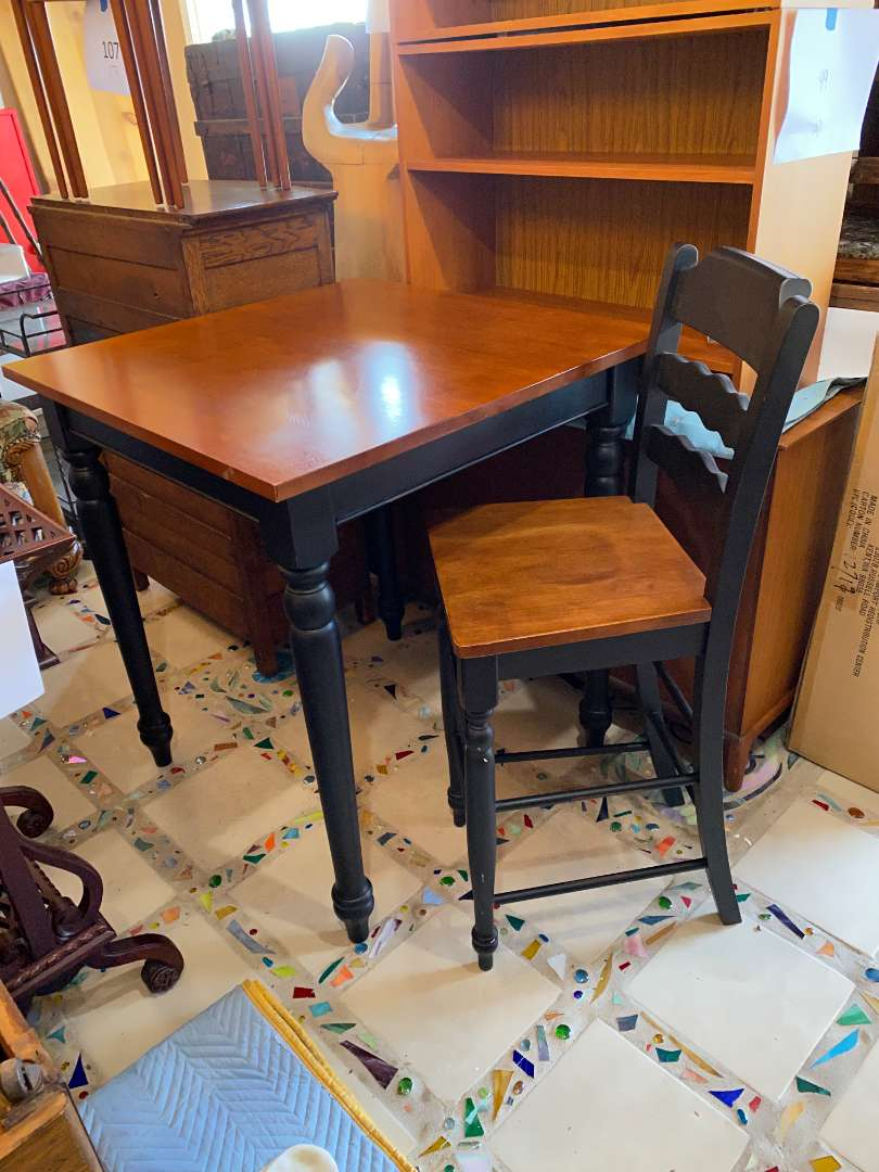 Lot # 108 - Square High-Top Table with Chair (main image)