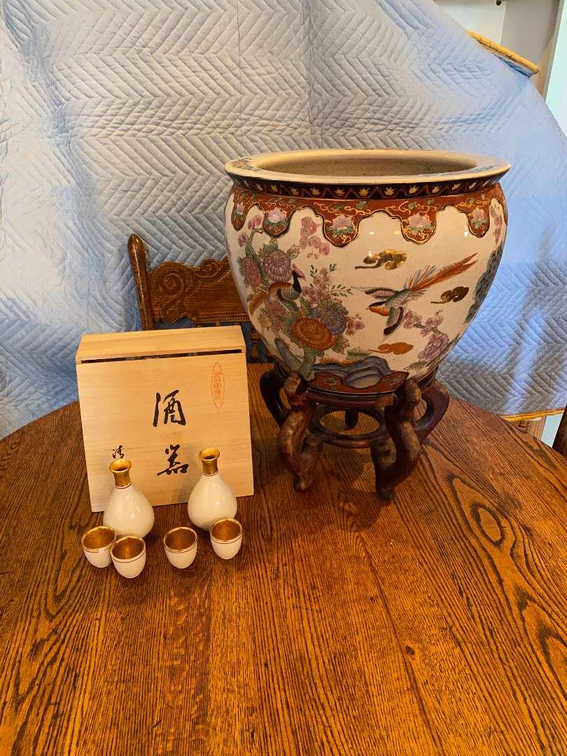 Lot # 137 - Chinese Pot With Wood Base & Japanese Sake Set (main image)