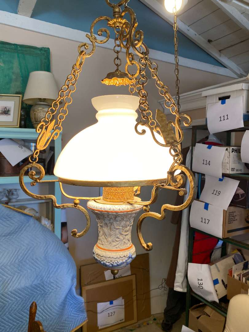 Lot # 141 - Vintage Porcelain and Brass Hanging Lamp plus Table Lamp (main image)