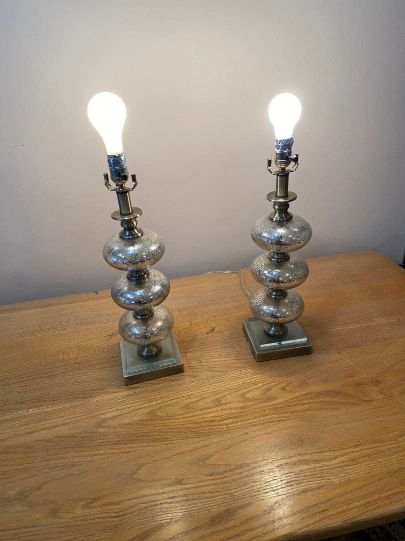 Lot # 146 - Pair of Mercury Glass Style Lamps (main image)