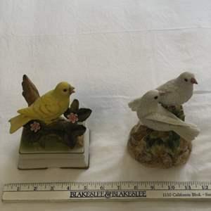 Lot # 31 - Pair of Pretty Porcelain Bird Music Boxes