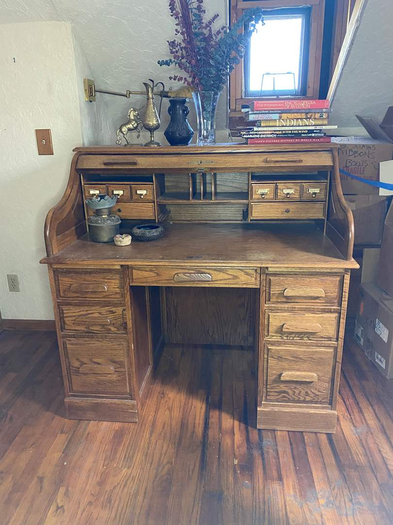 Lot # 166 - Roll Top Oak Desk with Contents (main image)