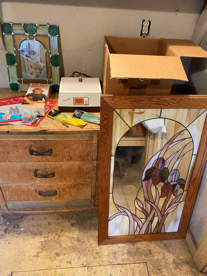 Lot # 24 -  Stained Glass Artist Lot With Tools (dresser not included) (main image)