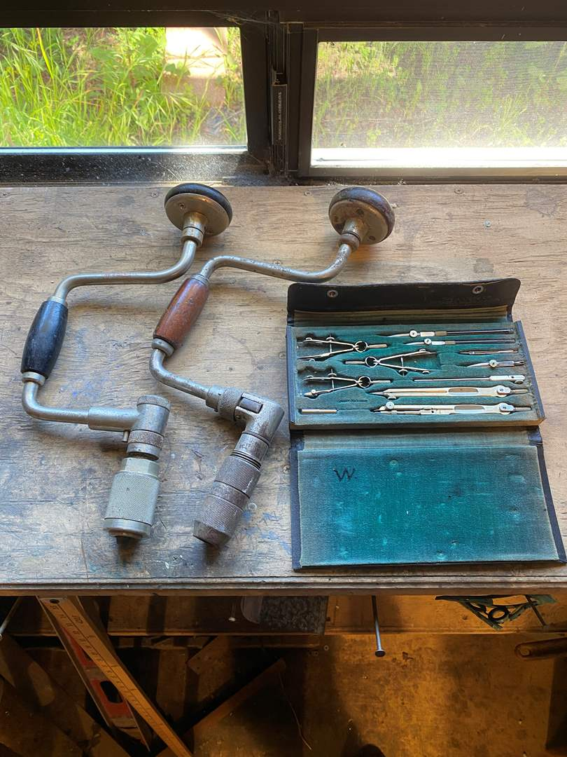 Lot # 35 - 2 Hand Drills and Precision Tool Measuring Kit (main image)