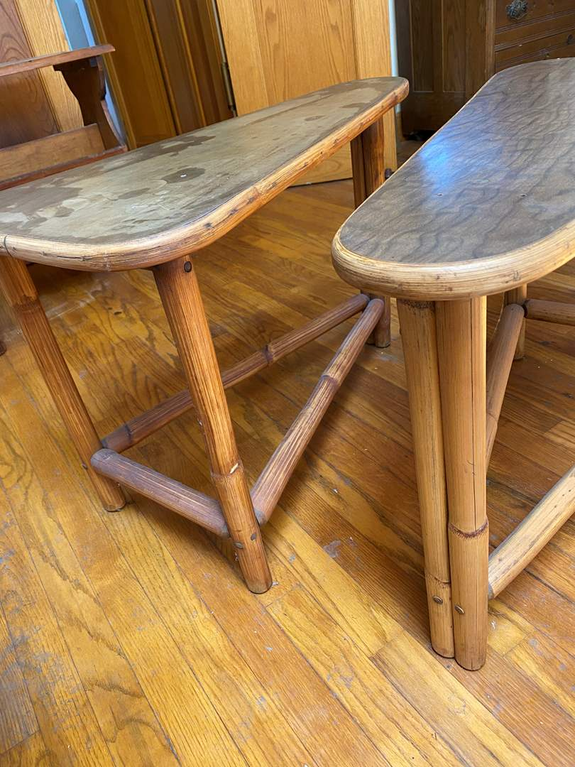 Lot # 223 - Mid Century Bamboo & Formica Top Matching End Tables (main image)