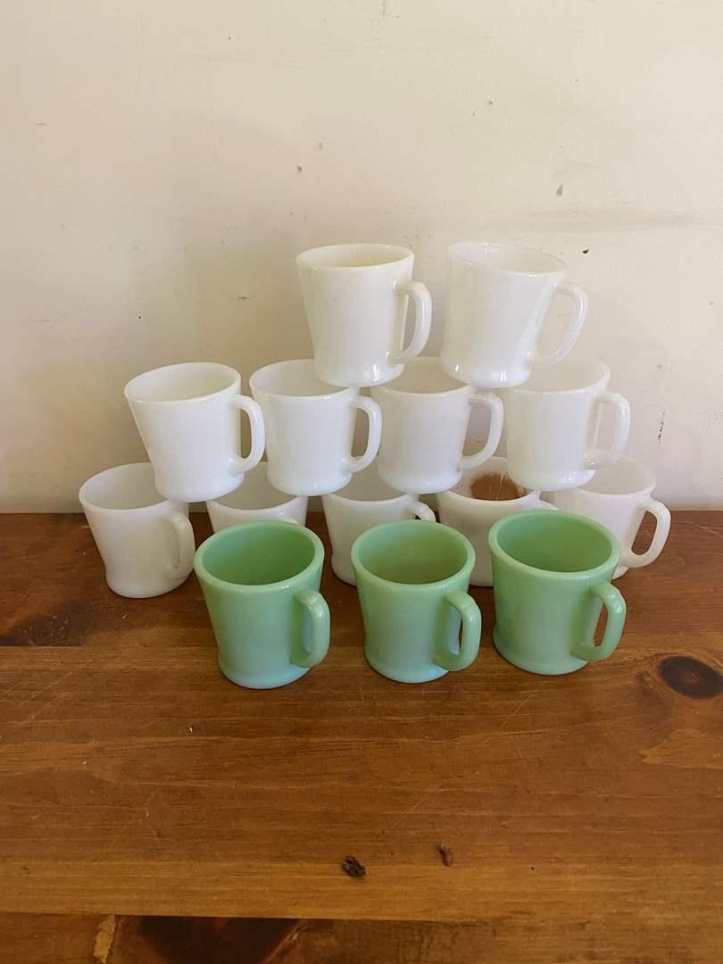 Lot # 59 - Fire King Milk Glass Mugs (main image)