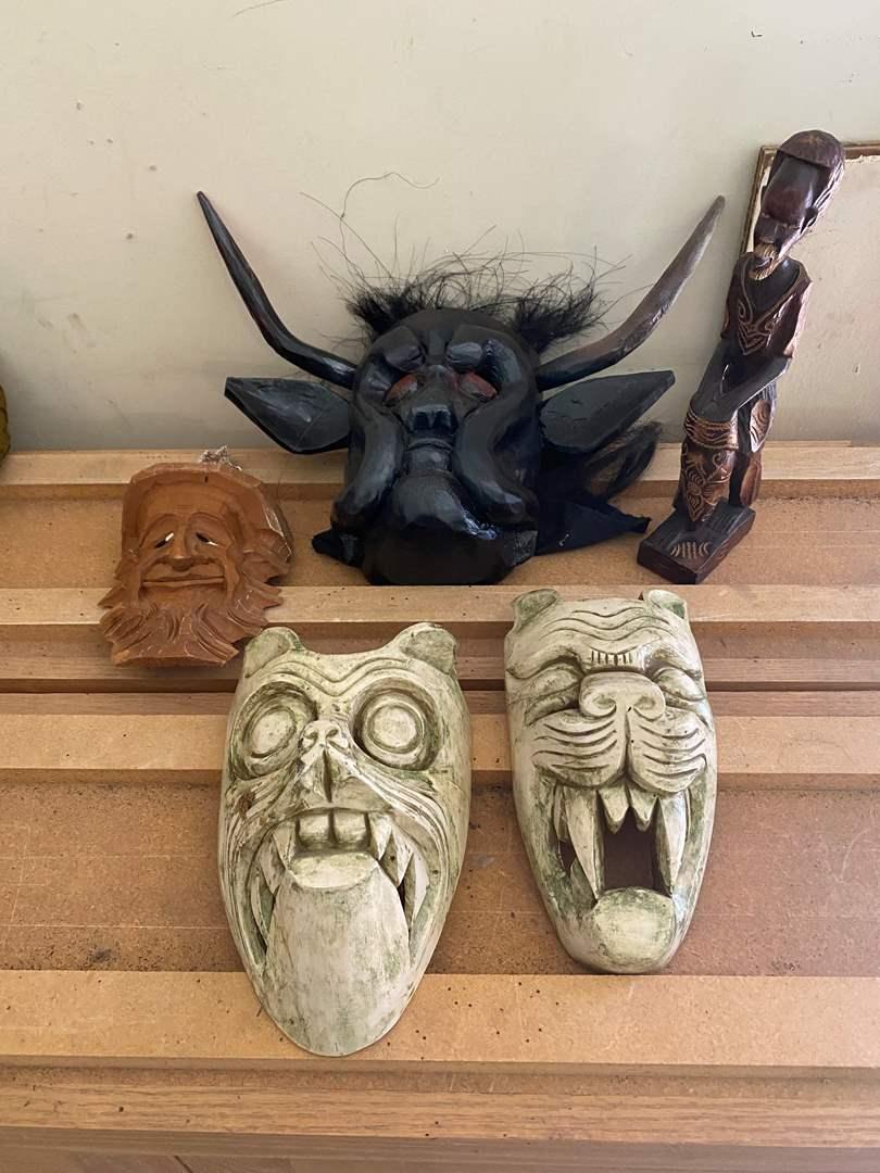 Lot # 62 - Wooden Carved Masked (main image)