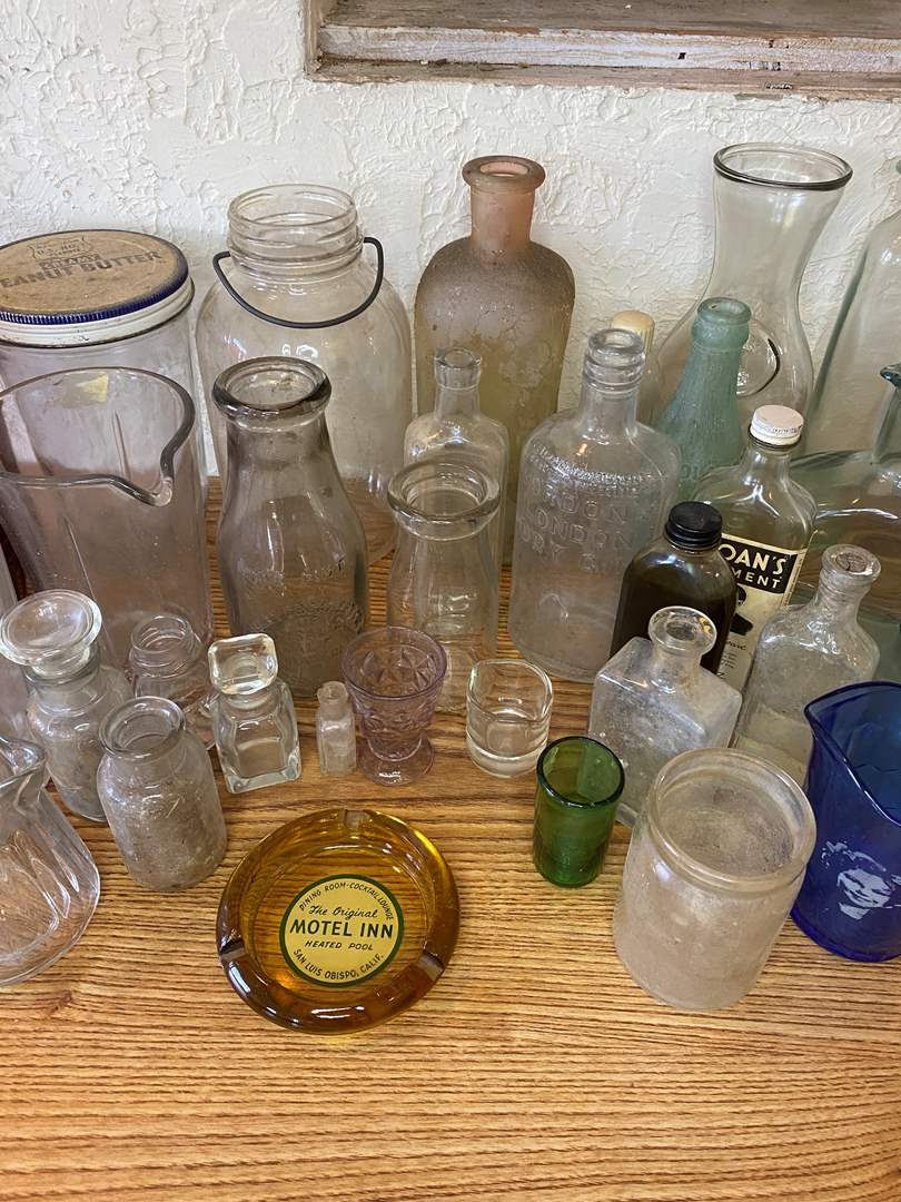 Lot # 95 - Vintage Glass Bottles & Jars (main image)