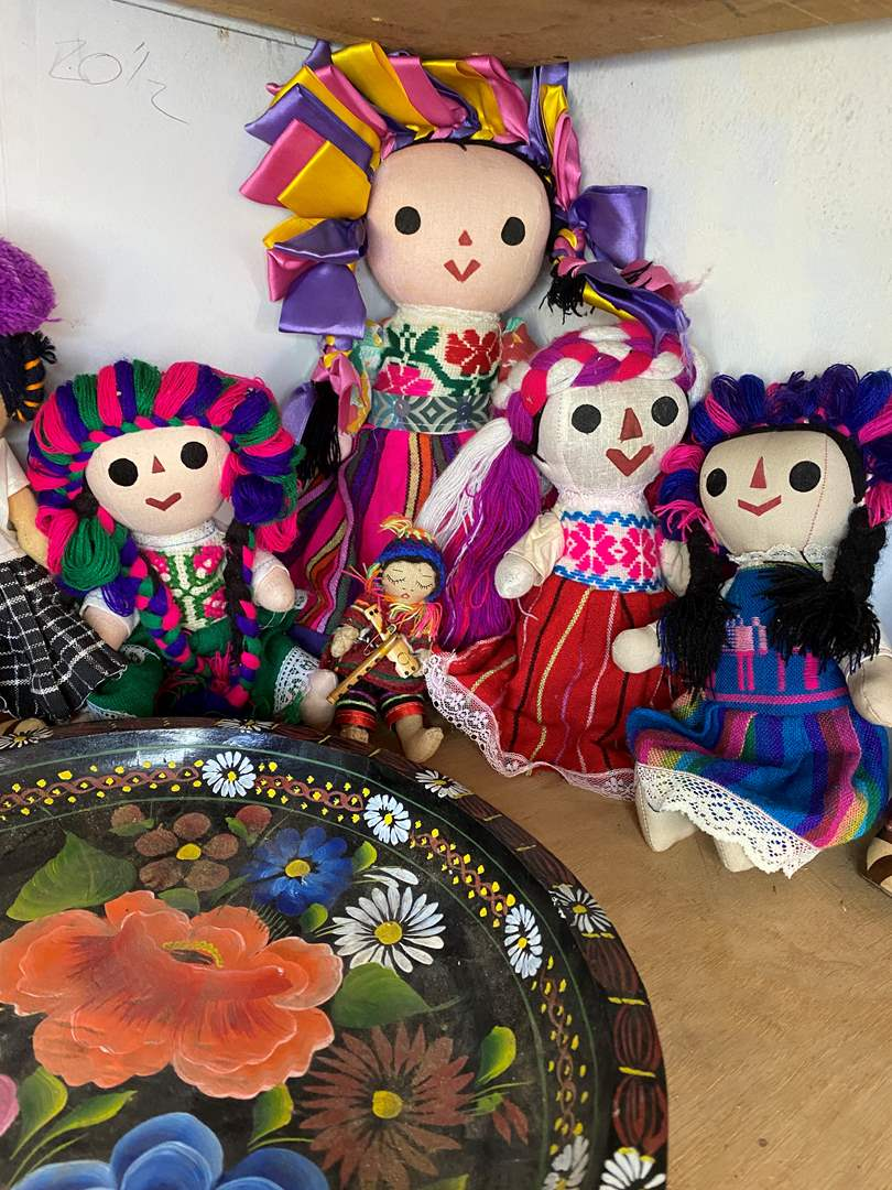 Lot # 96 - Mexican Dolls & Wooden Painted Platter (main image)