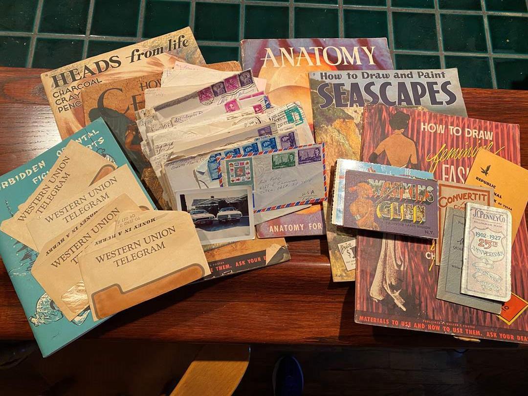 Lot # 177 - Vintage Mail, Telegrams, Postcards, Art Books (main image)