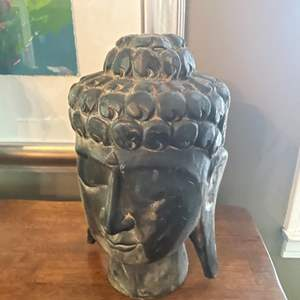Lot # 98- Hand Carved Wood Buddha Head Sculpture