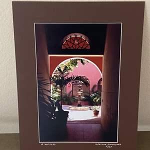 "Lot # 12 - 12x16 ""Mexican Courtyard"" Ralph Wessel, Artist Photo Print"