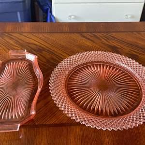 Lot # 9: Vintage pink depression glass