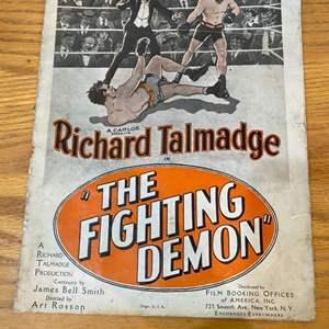Lot # 4 - 1925 movie Fighting Demon promotional leaflet