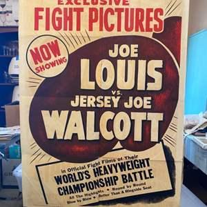 Lot # 5 - Original 1947 Joe Louis vs Jersey Joe Walcott original poster