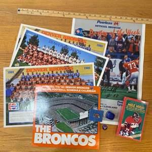 Lot # 13 - Denver Broncos memorabilia including team photos and signed poster