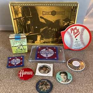 Lot # 21 - Sports buttons, patches, and more